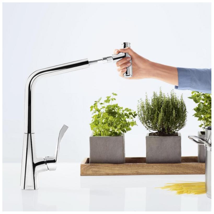 Hansgrohe Metris Select Einhebel-Küchenmischer 320 mit Ausziehauslauf chrom 14884000