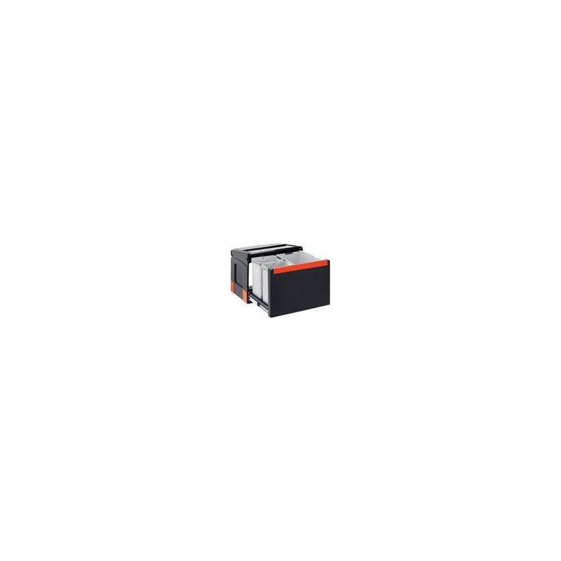 Franke Deutschland Franke Cube 50 Mülltrennung 2-fach mit Handauszug, schwarz, 2x14l 1340055289